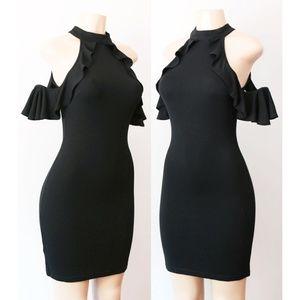 Black Mock Neck Ruffle Cold Shoulder Bodycon Dress